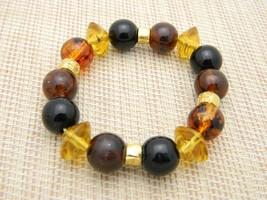 LC LIZ CLAIBORNE Faux Amber Acrylic Beaded Bead Stretch Bracelet - $19.80