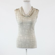 Light gray ivory geometric stretch NEW YORK & COMPANY cap sleeve blouse XS - $14.99