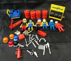 Vintage Playmobil Racing Team  and Pit Equipment Lot - $19.79