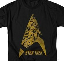 Star Trek T-shirt animated star fleet emblem retro graphic black tee CBS1476 image 2