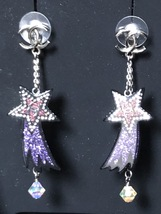 NEW AUTHENTIC CHANEL CC Shooting Star Dangle Long Earrings Crystal image 4