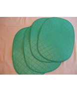 "4 Blue Non Rigid Plastic Oval Table Placemats With White Underside 17"" X... - $14.85"