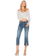 Free People Womens NEW Button Front Cropped Denim Jeans Raw Hem Boho Siz... - $24.74