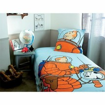 Tintin & Snowy Space walk, single duvet cover set with square pillow