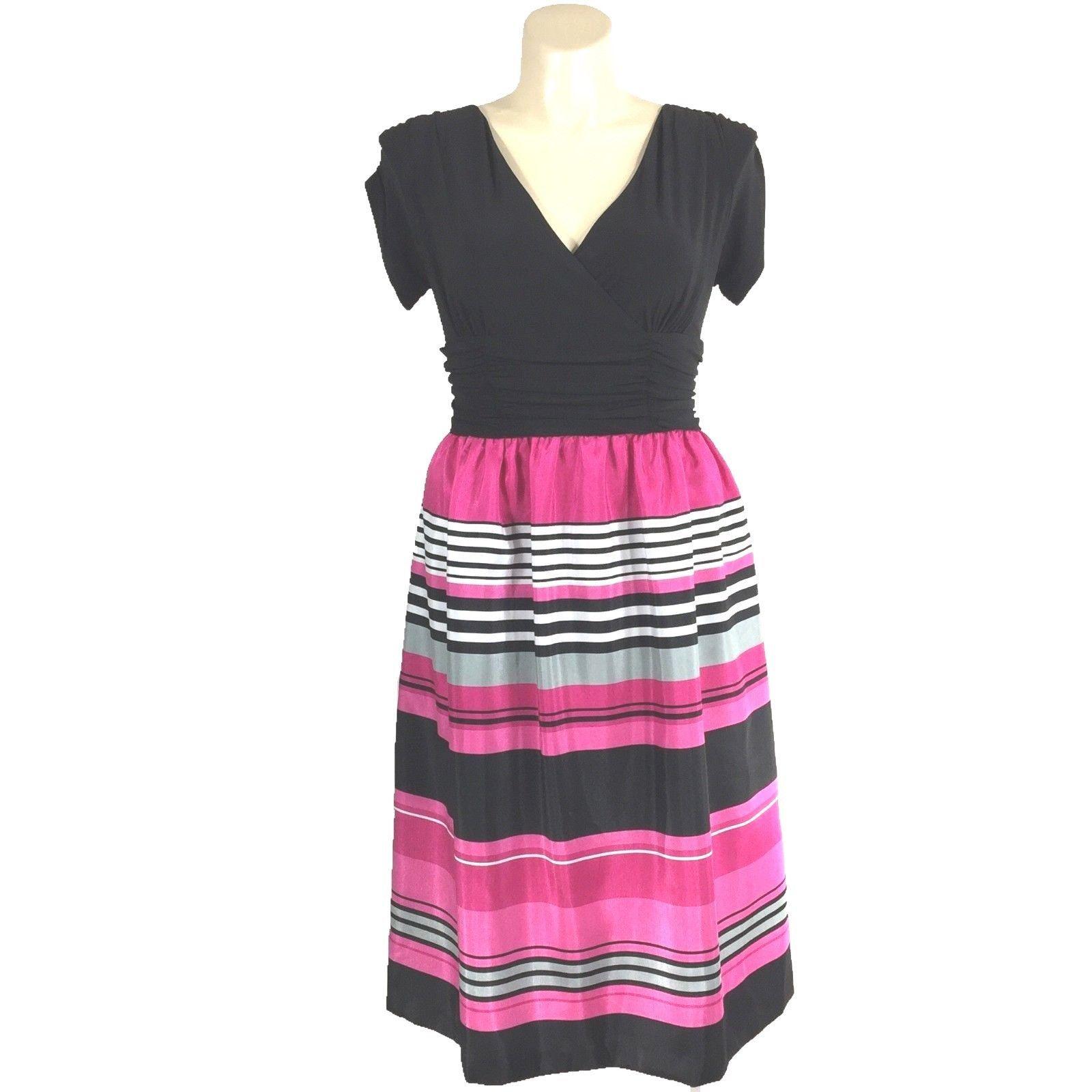 8e62d1e48b9 14 Woman Dress DRESSBARN Black Wrap Full Midi Pink Gray Stripe Skirt Party  XL LN - $19.95