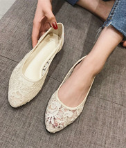 Ivory Lace Wedding Shoes/ Champagne Lace Bridal Shoes/Lace Flat Shoes Lo... - $38.00