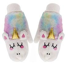 Women Kids Girls Unicorn Knitted Gloves Winter Thicken Faux Fur Rainbow Mittens