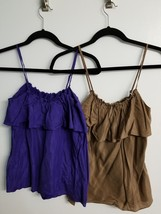 Gap cami tank lot of 2 silk blend purple and rust gold XS PRE-OWNED - $6.58
