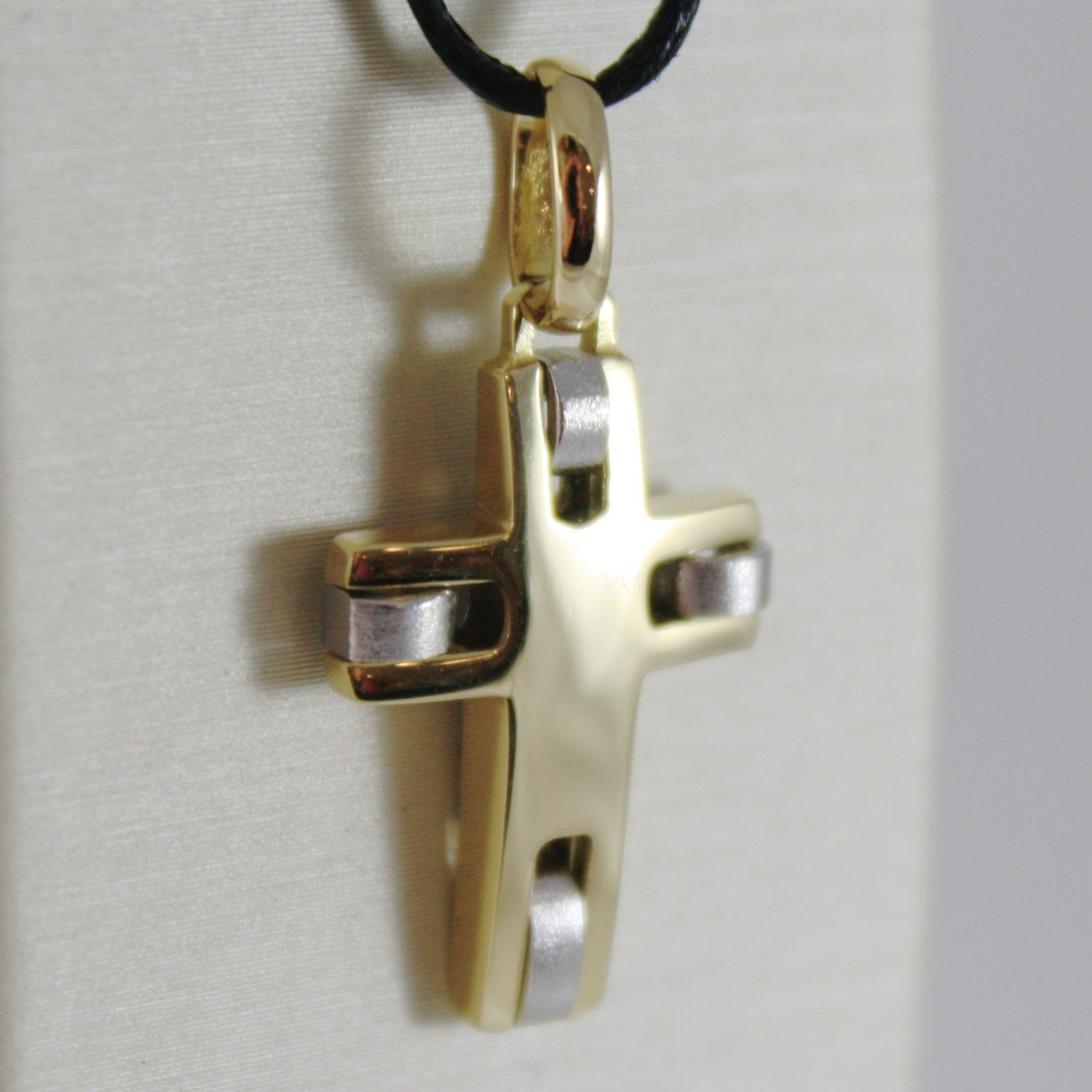 18K YELLOW WHITE GOLD CROSS SQUARED STYLIZED FINELY SATIN 1.14 IN MADE IN ITALY