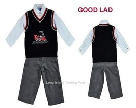 Good Lad Boys 3-Piece Quality Outfit Sweater Vest Shirt Pants Train Set ... - $27.50