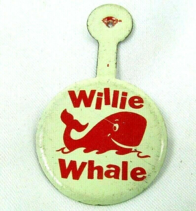 Primary image for 1950s-60s VTG Fold Over Tab Button WILLIE WHALE Unused Kids Library Book Club