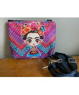 Multicolor Chevron Stripe Frida Kahlo Muneca Doll Woven Shoulder Bag Tote Clutch - $16.44