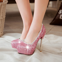 pp403 awesome sequined surface stiletto pumps US Size 3-10, pink - $62.80