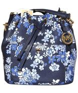NEW MICHAEL KORS GREENWICH MEDIUM NAVY BLUE FLORAL LEATHER BUCKET BAG - $99.99
