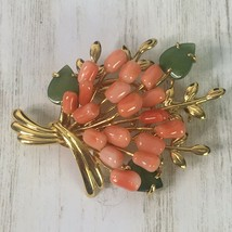 VTG Brooch Pin Signed TAIWAN Peach Flower Bunch Pink Leaf Art Nouveau   - $13.98