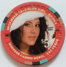 Calendar Girl Nicole HOOTERS Casino Hotel Las Vegas $5 Collectible Casino Chip - $9.95