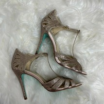 Blue by Betsey Johnson Tee Champagne Glitter Dress Sandals Size 7.5 Gold Glitter - $18.80