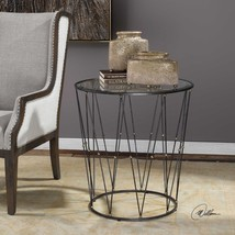 "NEW 26"" DRUM CAGE STYLE METAL ACCENT END TABLE IRON FINISH BEVELED GLASS... - $437.80"