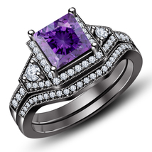 Princess Cut Amethyst 14K Black Gold Fn. 925 Silver Bridal Engagement Ring Set - $99.99