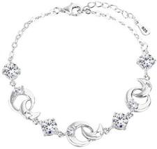 925 Sterling Silver Round CZ Moon Star Bracelet Chain, 6.9'+1.3' - $65.11