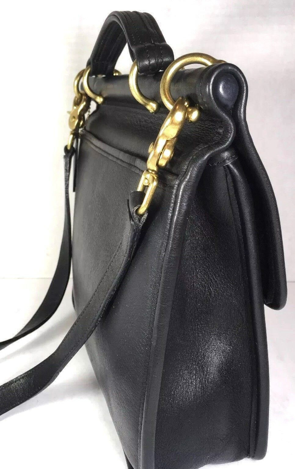 Coach Vintage Willis Smooth Black Leather Shoulder Bag Brass HW Made in USA
