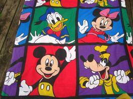 VTG Disney Mickey Mouse Minnie Goofy Donald Twin Flat Sheet and Pillowcase - $17.10