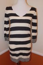 Express Small Women's Gray & Cream 3/4 Sleeve Stripped Sweater Tunic Dress - $18.66