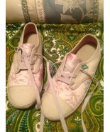 NEW WOMENS SZ 5M SANUK CANVAS SOLID/ FLOWER LACE UP TAN & PINK SNEAKERS ... - $39.59