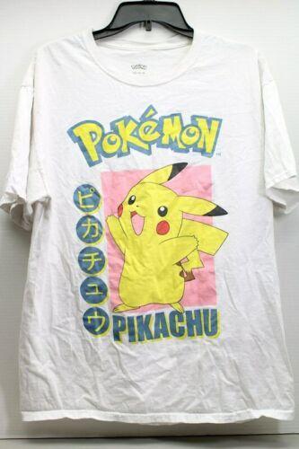 Men's Pokemon Pikachu White Sz. Large T-Shirt Nintendo Japanese Graphic