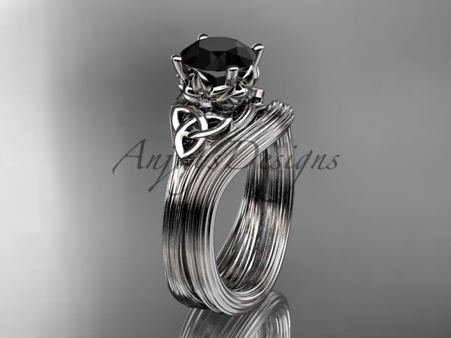 engagement ring  celtic wedding rings  celtic engagement rings  black diamond  matching band  1