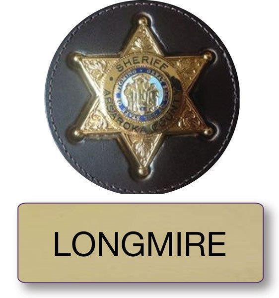 "LONGMIRE POLICE NAME BADGE & SHERIFF 3"" BUTTON HALLOWEEN COSTUME MAGNETIC BACK"