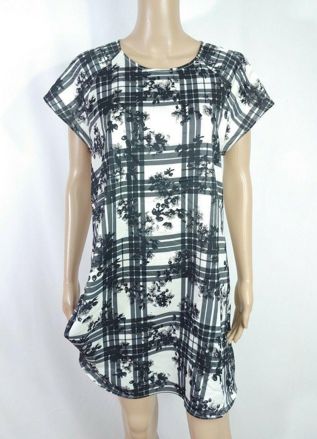 Finders Keepers Surrender Black White Floral Plaid Draped Shift Shirt Dress M