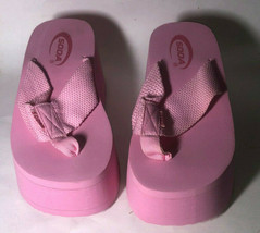 NWB Soda Vacation Wedge Thong- Pink- Size 6.5 - $19.99