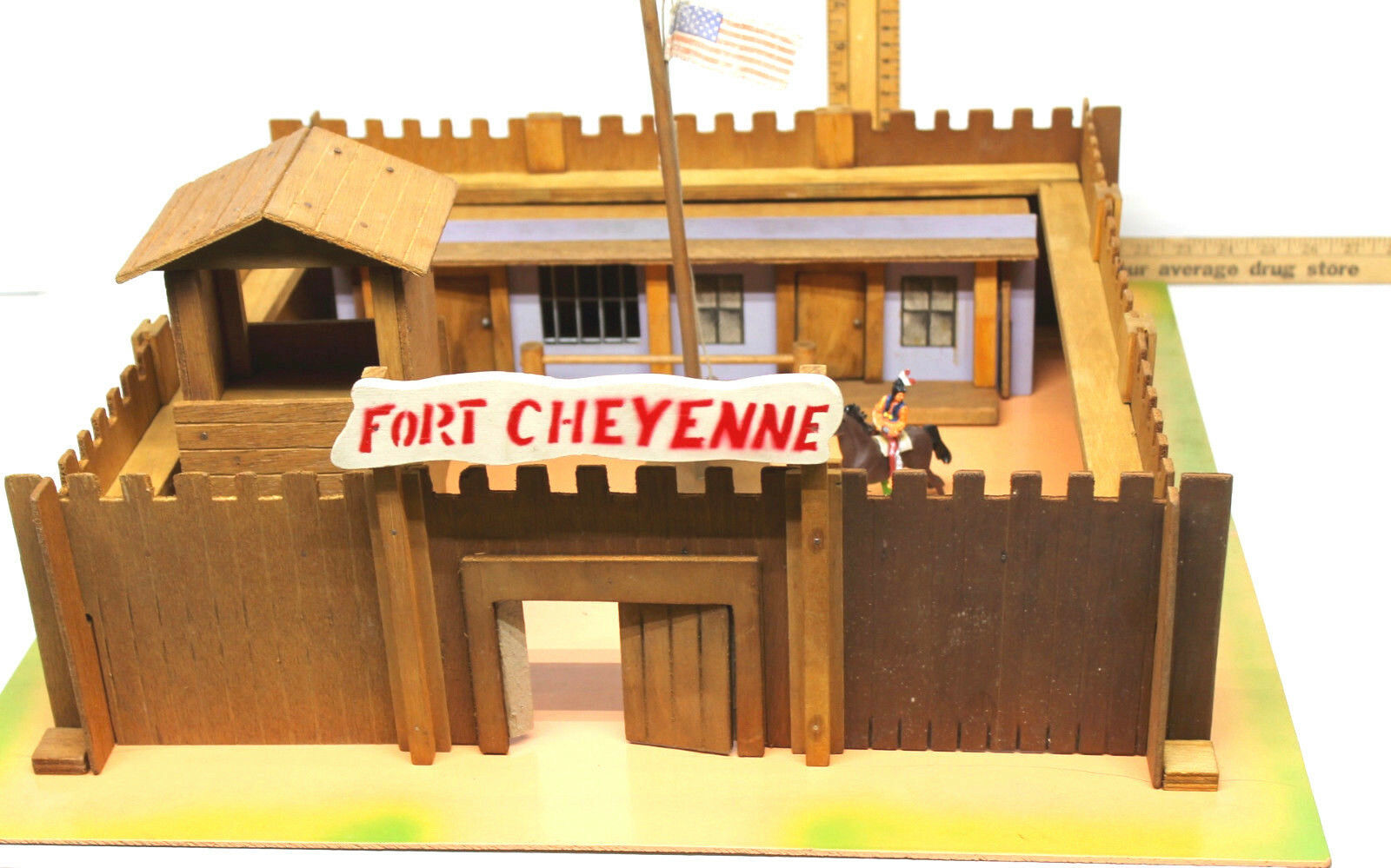 1950s Wooden Play Toy Set Fort Cheyenne Western USA Cowboys Indians Elf Toys - $157.07