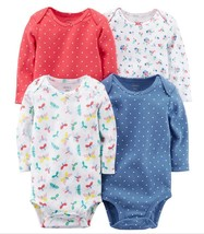Carter's Baby Girl Carter's 4-pk Printed Long Sleeve Bodysuits New Born ... - $21.99