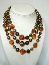 Japan 3 Strand Bronze & Copper Beads Vintage Casual Honeymoon Necklace Party Pro - $32.95
