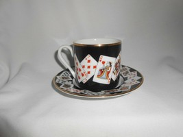 Tiffany & Co Demitasse Cup and Saucer Playing Cards Black Porcelain Espr... - $33.25