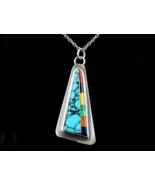Vintage Navajo Dg Sterling Intagliati Turchese Corallo Onice Lapis Malac... - $65.68