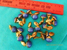 20 Vintage cuff links blue brass bakelite costume jewelry button art dec... - $9.86