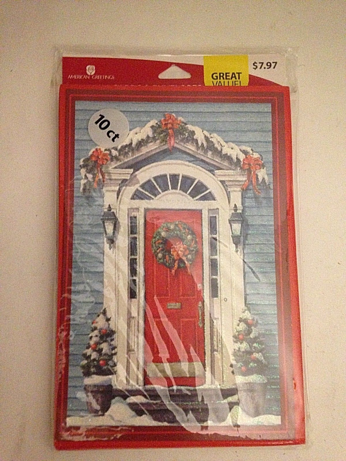 Christmas Cards -Door & Wreath  American Greetings - 10 Count Cards & Envelopes