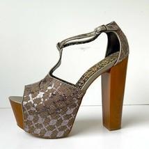 Jessica Simpson 'Dany' T-Strap Platform Sandal Pewter Woven 10B - $46.42