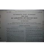 41 42 PLYMOUTH CARTER B-B CARBURETOR SERVICE PROCEDURES B6T1 B6U1 B6V1 B6W1 - $5.75