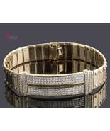 3 Ct Men's ID Screw Link Diamond Bracelet 14k Yellow Gold Handmade 54 g 8'' - $6,044.17
