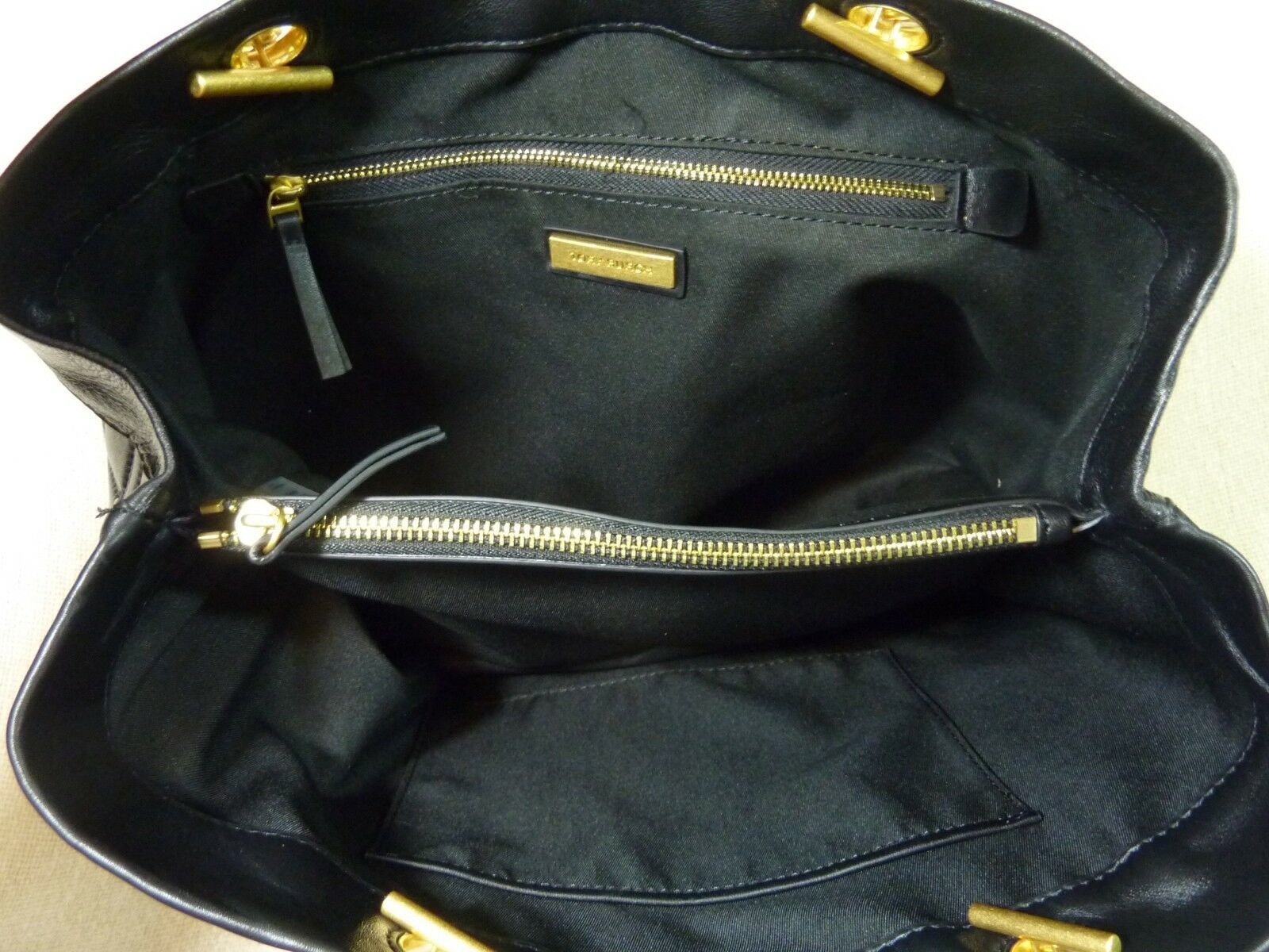 NWT Tory Burch Black Fleming Triple Compartment Shoulder Tote image 11