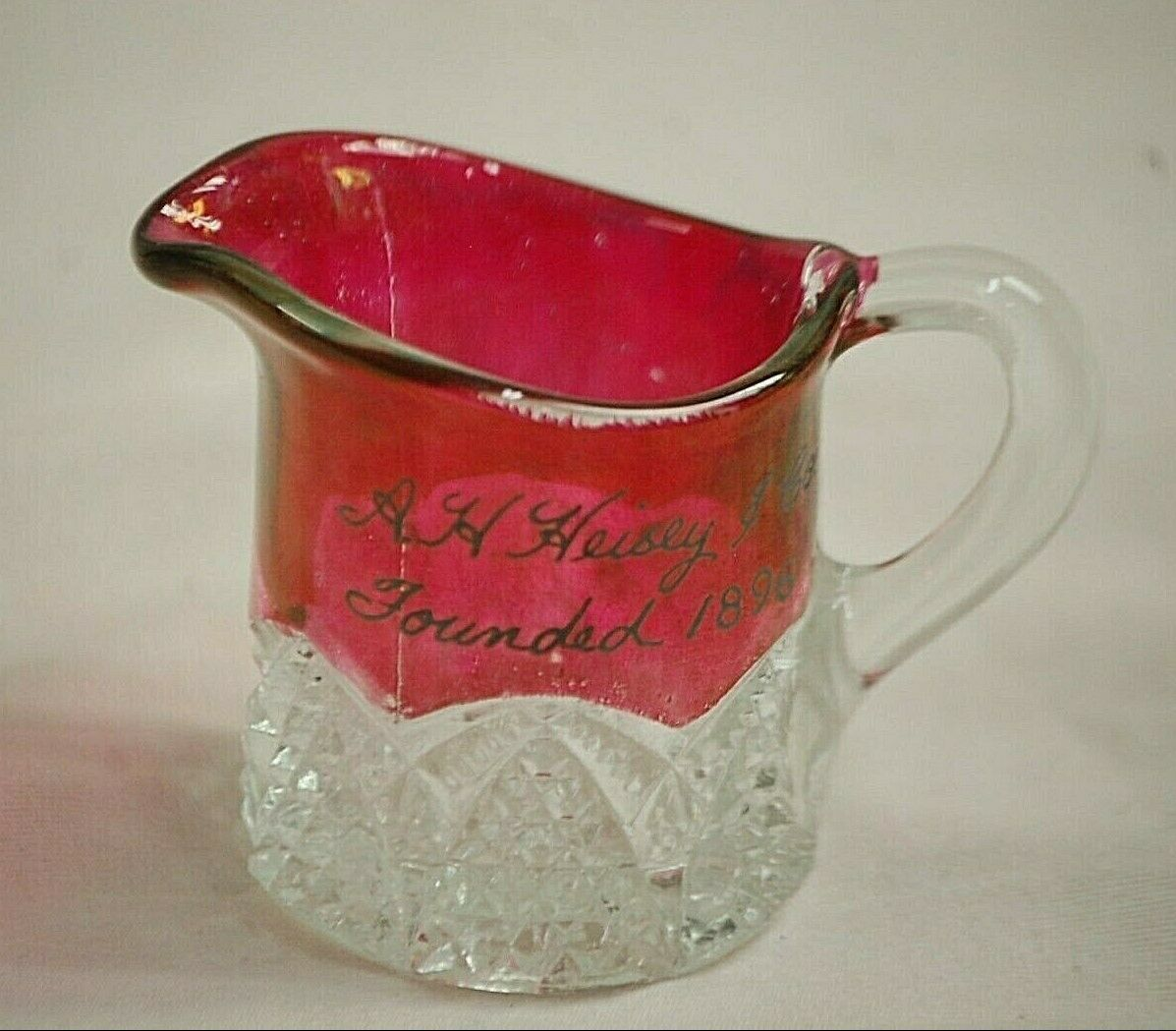 Primary image for Vintage A.H. Heisey Mini Souvenir Milk Creamer Arch Sides w Waffle Star Bottom