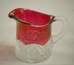 Vintage A.H. Heisey Mini Souvenir Milk Creamer Arch Sides w Waffle Star ... - $23.75
