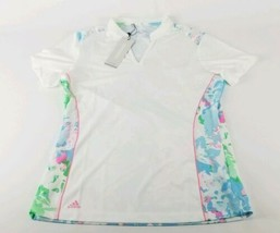 $66 Adidas Ladies Resort Short Sleeve Polo Size Small White & Floral New  - $31.67