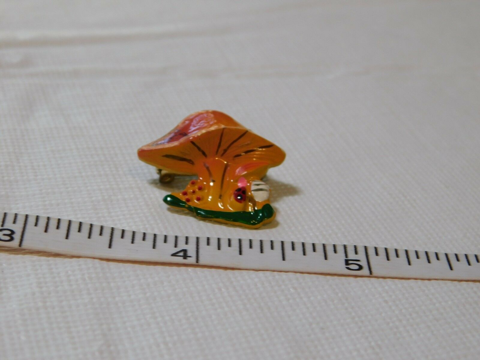 Tiny Handpainted Colorful Psychedelic Mushroom beetle bug Pin Brooch vintage