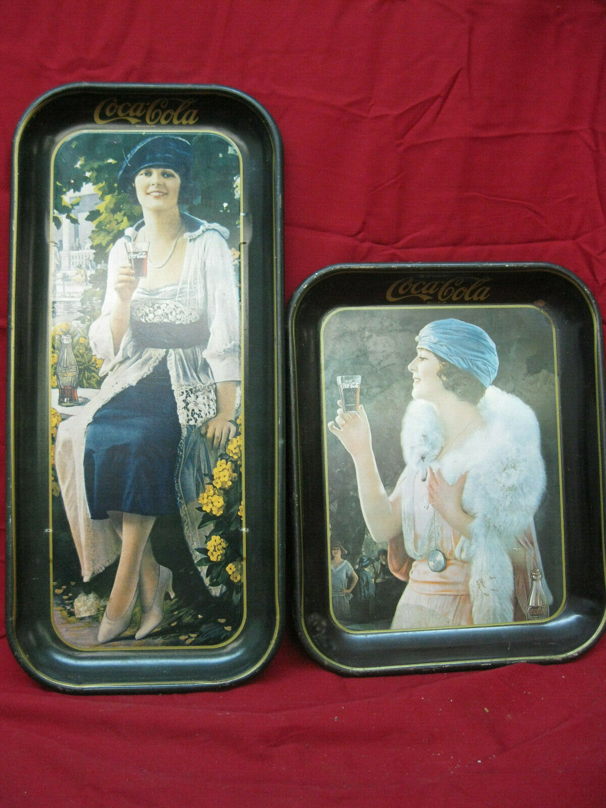 "Primary image for Pair Vintage ""Drink Coca-Cola"" Trays From the 1970's Coke Advertisement"