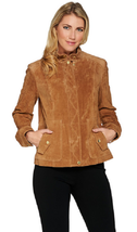 Isaac Mizrahi Live! Suede Flight Jacket, Mushroom, Size Plus 22, MSRP $164 - $98.99